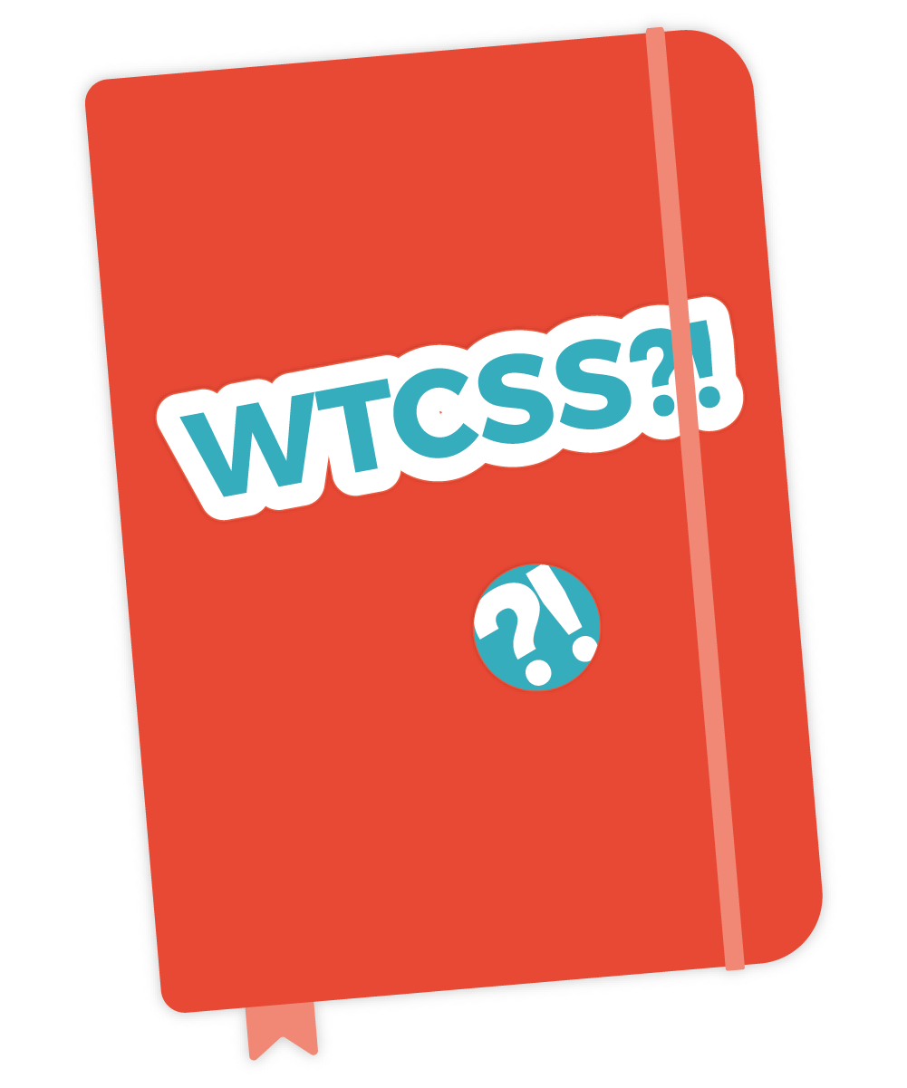 illustration of a red notebook with a What the CSS?! logo (question mark and exclamation point) on it.