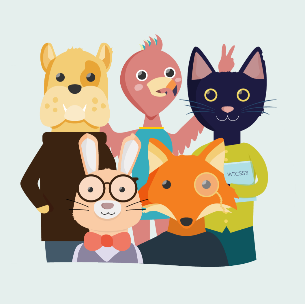 Family portrait of What the CSS?! mascots including a bull dog, a flamingo, a black cat, a bunny and a fox all wearing clothing.